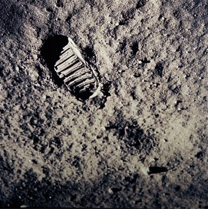A footprint on the lunar surface