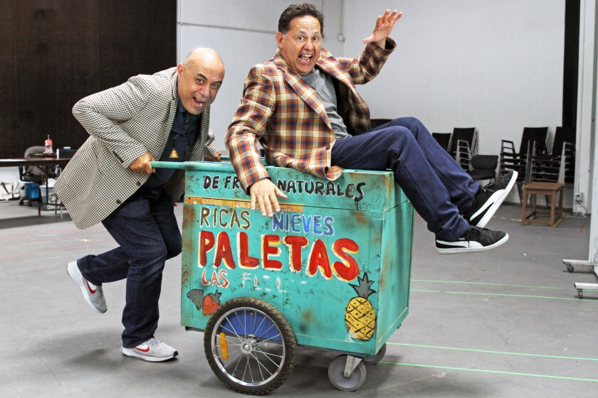 """Playwright Herbert Sigüenza (left) and actor Ric Salinas, co-founders of Culture Clash, both appear in Siguenza's world-premiere comedy """"Bad Hombres/Good Wives"""" at San Diego Rep."""