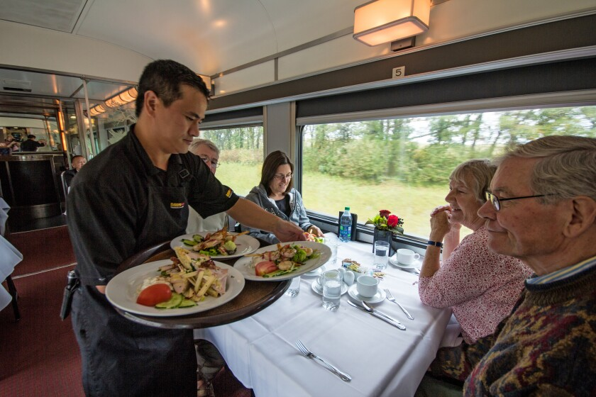 Food is served in the dining car on Via Rail's Canadian