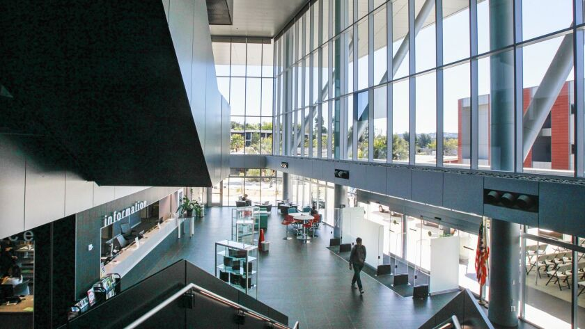 The lobby area/atrium of the new 85,000-square-foot library at Palomar College on Friday in San Marcos.