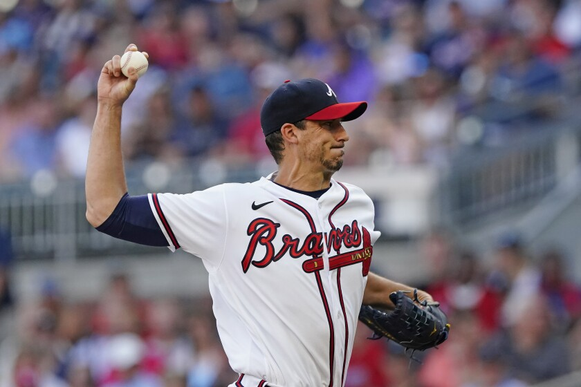 Atlanta Braves starting pitcher Charlie Morton delivers in the first inning of the team's baseball game against the St. Louis Cardinals on Thursday, June 17, 2021, in Atlanta. (AP Photo/John Bazemore)