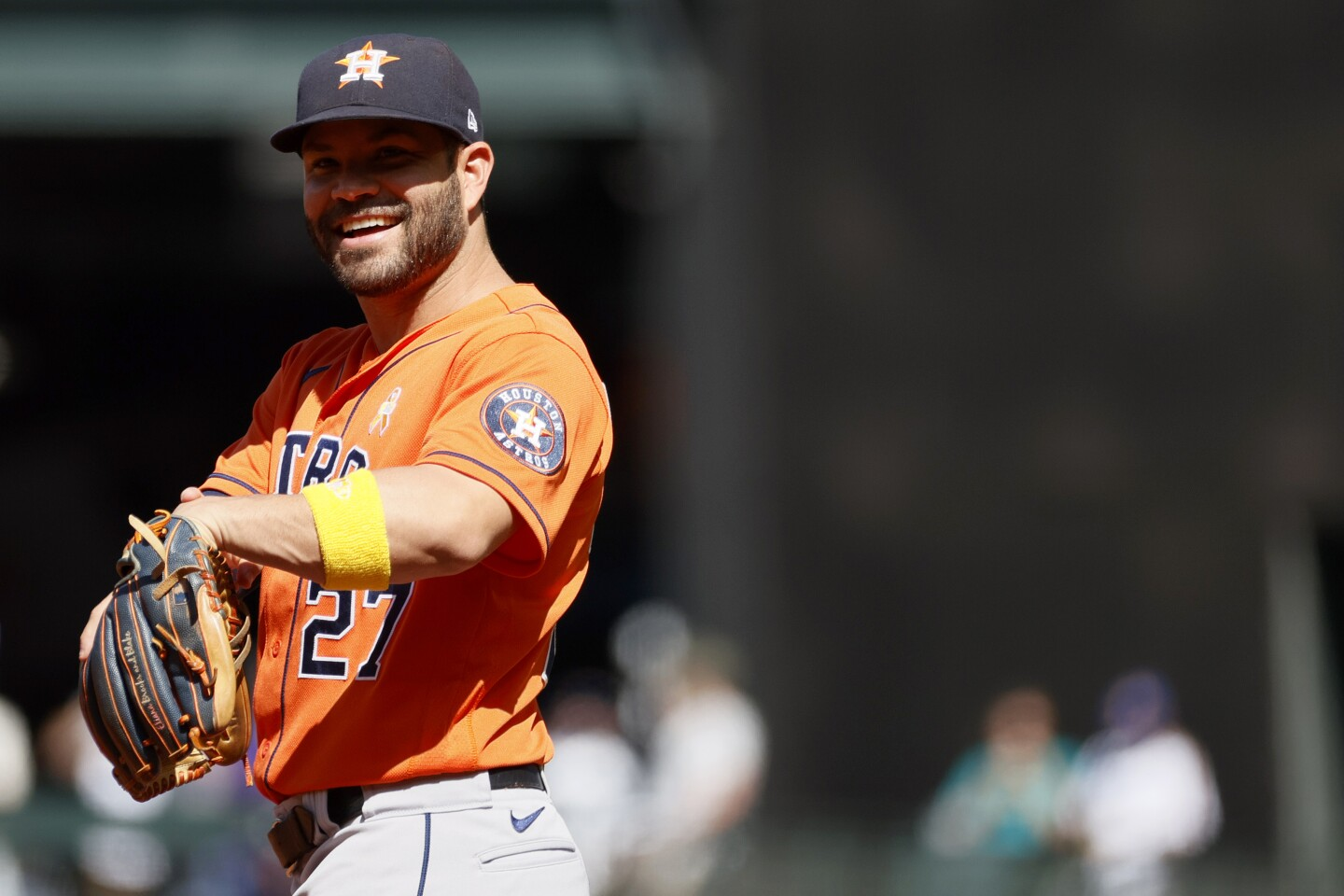 SEATTLE, WASHINGTON - SEPTEMBER 01: Jose Altuve #27 of the Houston Astros looks on during the game against the Seattle Mariners at T-Mobile Park on September 01, 2021 in Seattle, Washington. (Photo by Steph Chambers/Getty Images)