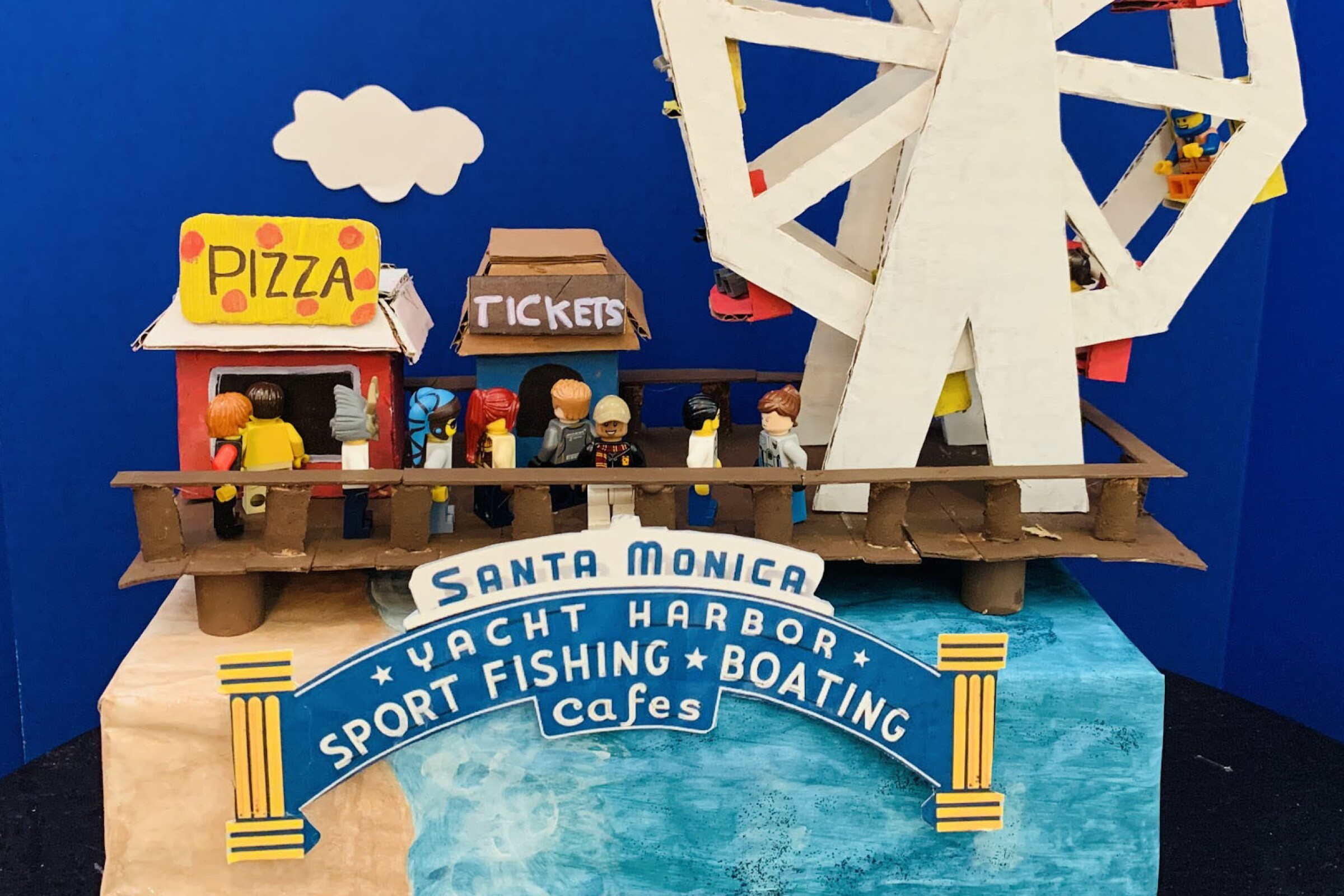 "Fourth-grader Jaden Manchanda of San Marino's K.L. Carver Elementary School made this model of the Santa Monica Pier. Says Jaden: ""It has many shops, food stands, roller coasters, and an amazing Ferris wheel that is sky-high."""