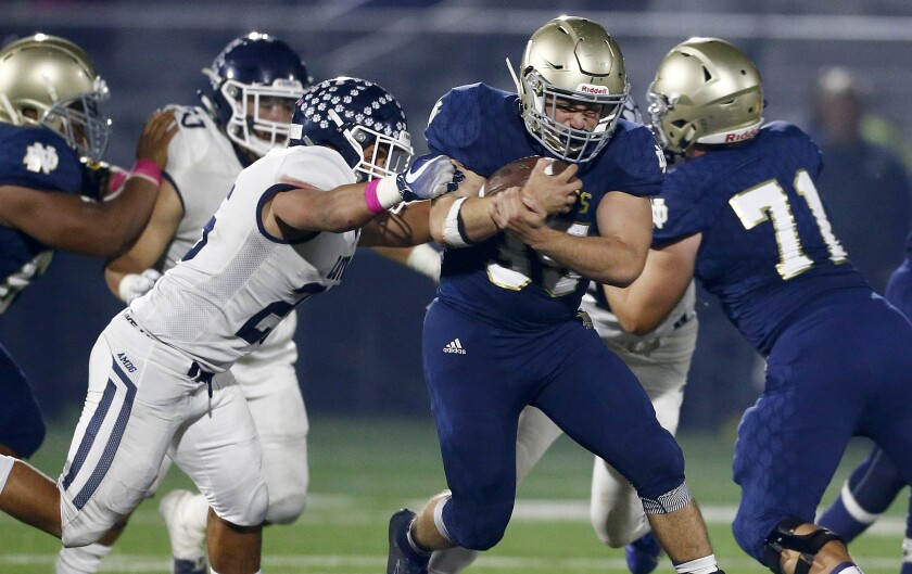 Sherman Oaks Notre Dame running back Santiago Weschler tries to sprint past a Loyola defender during Friday's game.