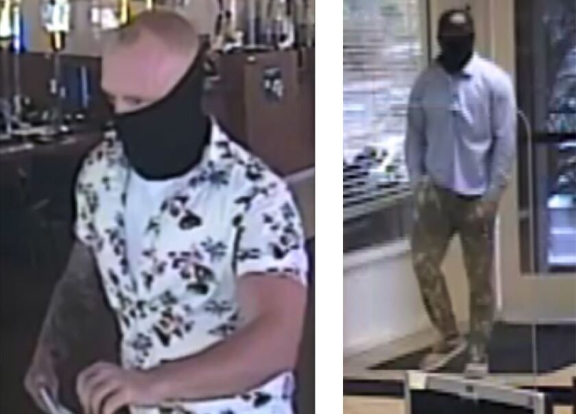 The FBI believes the same man robbed employees at a bank in Hillcrest, left, and in El Cajon, right.