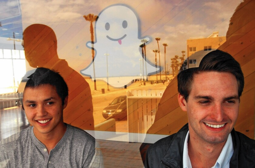 Bobby Murphy, left, Snapchat's chief technology officer, and Evan Spiegel, chief executive. In 2013, co-founder Reggie Brown sued his former colleagues and venture capitalists, alleging breach of contract.