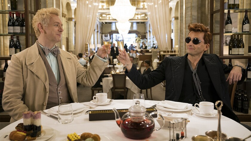 """It's the end of the world as we know it in Amazon's """"Good Omens,"""" and angel Aziraphale (Michael Sheen, left) and demon Crowley (David Tennant) feel fine."""