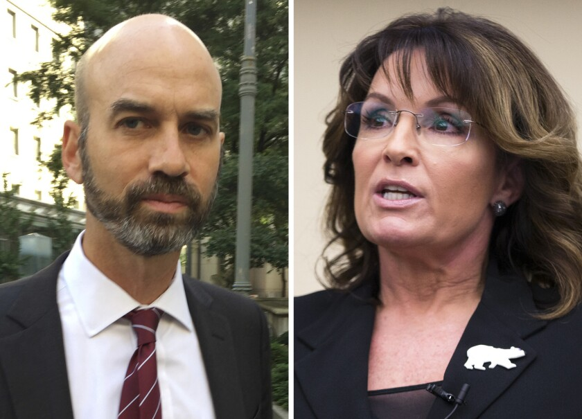 James Bennet, editorial page editor of The New York Times, is pictured in August of 2017. Sarah Palin is pictured in Washington in 2016.