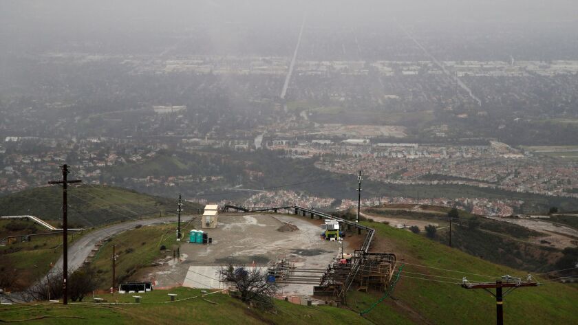 A tarp covers the well where the 2015 gas leak occurred at the Aliso Canyon storage facility near L.A.'s Porter Ranch neighborhood.