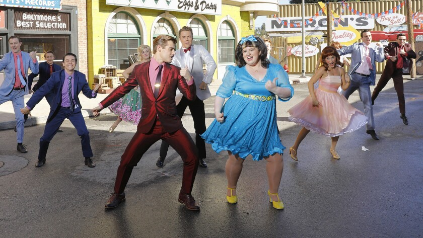 "Maddie Baillio, front right, co-stars in the new made-for-TV musical musical adaptation ""Hairspray Live!"" airing on NBC."