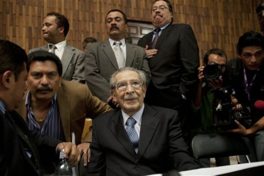 Guatemala's former dictator Jose Efrain Rios Montt sits in the courtroom before the judge enters to read the verdict in his genocide trial in Guatemala City, Friday, May 10, 2013. The Guatemalan court convicted Rios Montt on charges of genocide and crimes against humanity, sentencing him to 80 years in prison. The 86-year-old former general is the first former Latin American leader ever found guilty of such a charge. The war between the government and leftist rebels cost more than 200,000 lives
