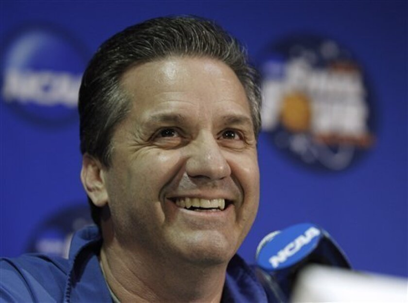 Kentucky head coach John Calipari answers a question after a practice session for a men's NCAA Final Four semifinal college basketball game Thursday, March 31, 2011, in Houston. Kentucky plays UConnon Saturday. (AP Photo/David J. Phillip)