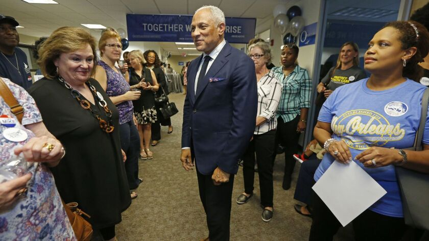Mike Espy, a Democrat and President Bill Clinton's first agriculture secretary, speaks in Jackson, Miss., to supporters and volunteers in his campaign for November's special election on Sept. 7.