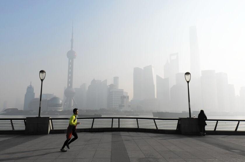 Shanghai is shrouded in smog on Dec. 29.