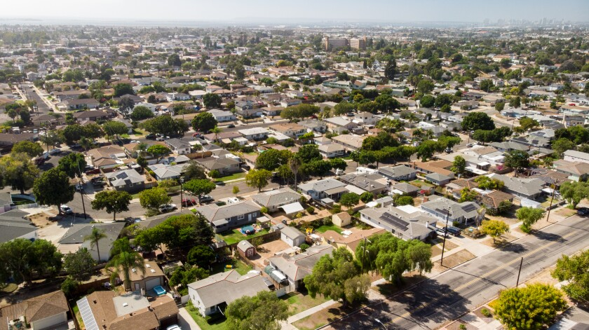 An aerial view of a Chula Vista neighborhood with mainly single-family homes.