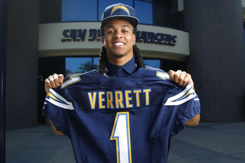 Jason Verrett was introduced at Chargers Park on Friday.
