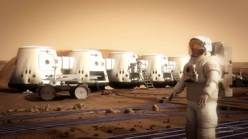 An illustration of the proposed Mars One colony.