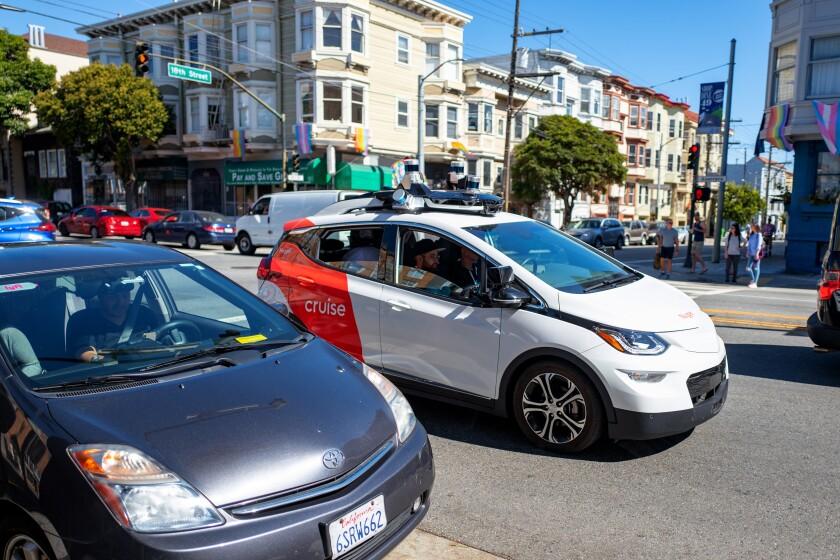 General Motors' Cruise self-driving car undergoes testing in San Francisco.