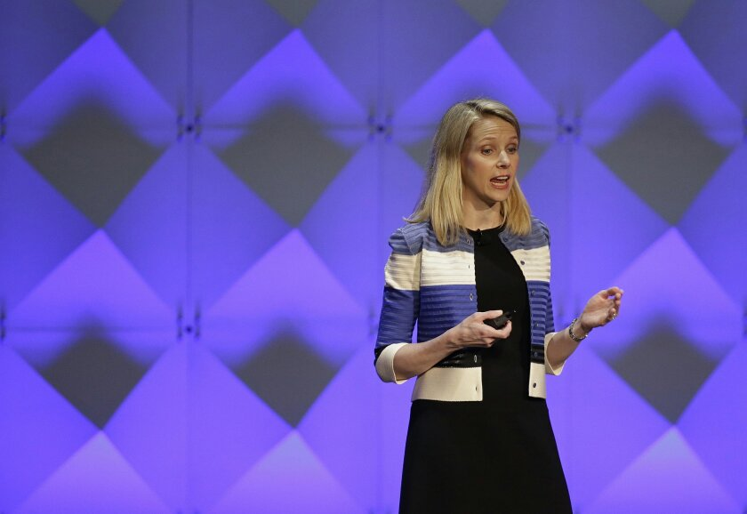 FILE - In this Feb. 18, 2016 file photo, Yahoo CEO Marissa Mayer delivers the keynote address at the Yahoo Mobile Developer Conference in San Francisco.  Yahoo's board is creating a committee of independent directors and hiring a trio of economic advisers in its long-running bid to redefine itself.