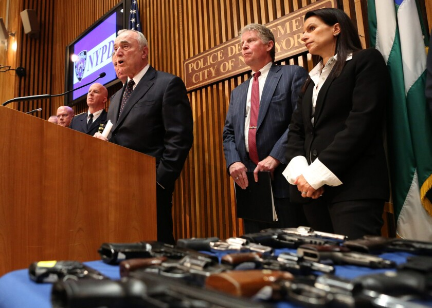 New York City Police Commissioner William J. Bratton anounces arrests in a suspected gun-trafficking ring.