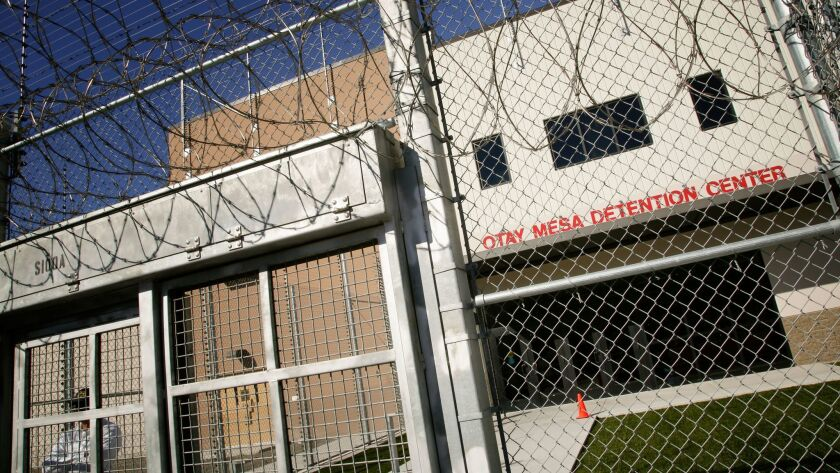 The front main entrance to Otay Mesa Detention Center in south San Diego.