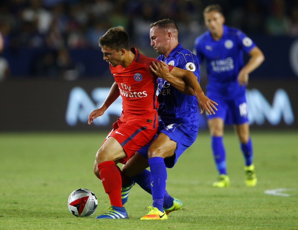 Football - Paris St Germain v Leicester City - International Champions Cup - StubHub Center, Carson, California - 30/7/16 Paris St Germain's Lorenzo Callegari (L) in action with Leicester City's Danny Drinkwater Reuters / Mike Blake Livepic ** Usable by SD ONLY **