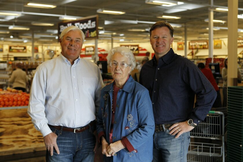 Jessie Boney (center) with her son Stan Boney (left) and grandson Shon Boney at a Sprouts Farmers Market in Carmel Mountain Ranch