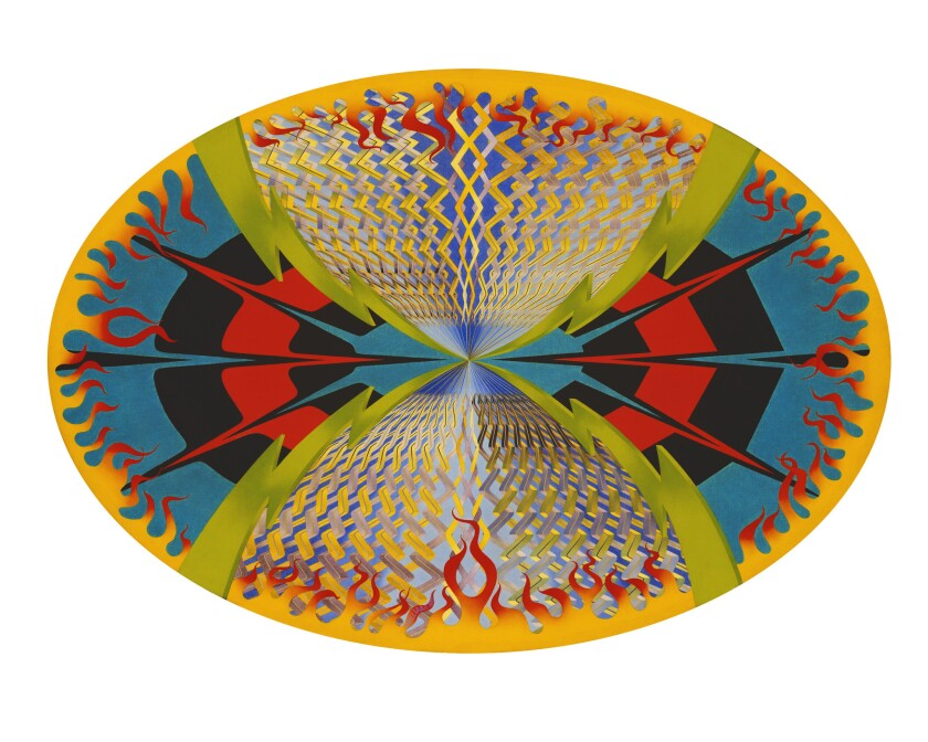"""Scallops and Stripes Within an Oval of Flames,"" 1975, by Suzanne Williams in ""Auto-Didact."""