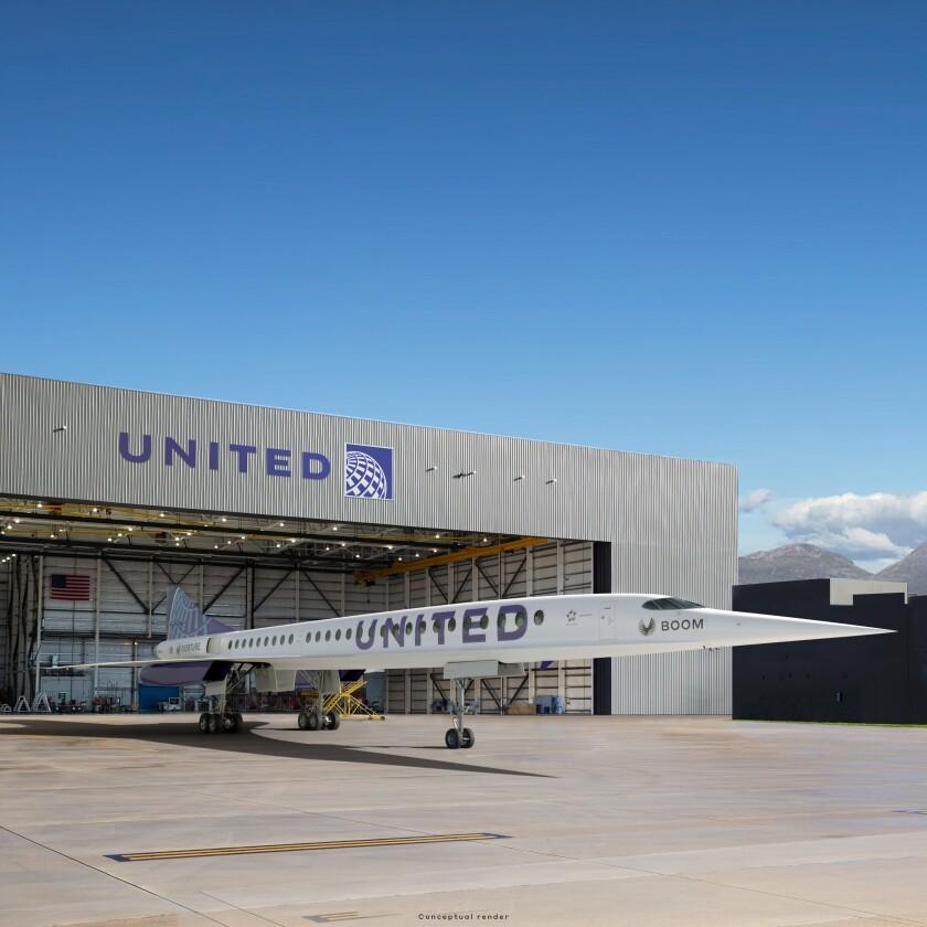 An artist's rendition of a United Airlines jet near a hangar