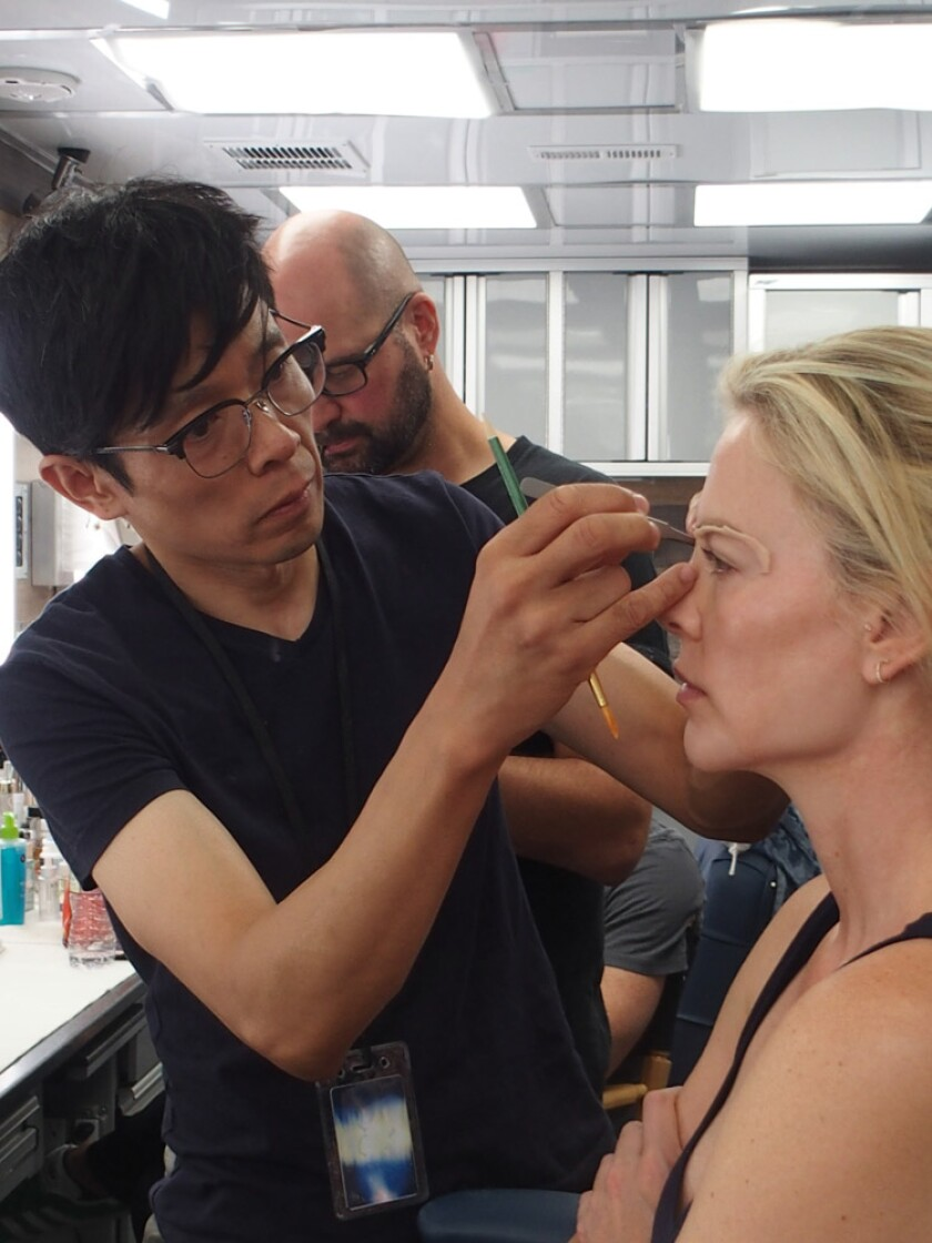 Charlize Theron gets her eyelids worked on