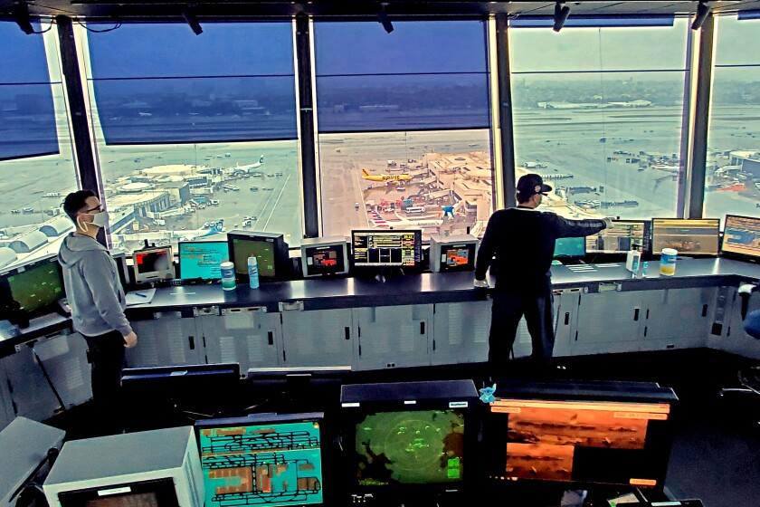 The ATC control tower at Los Angeles International Airport on Apr. 9, 2020 during the coronavirus pandemic. Air traffic control towers have adapted to the crisis by reducing staff and working from alternative towers if someone tests positive for the virus. (FAA)