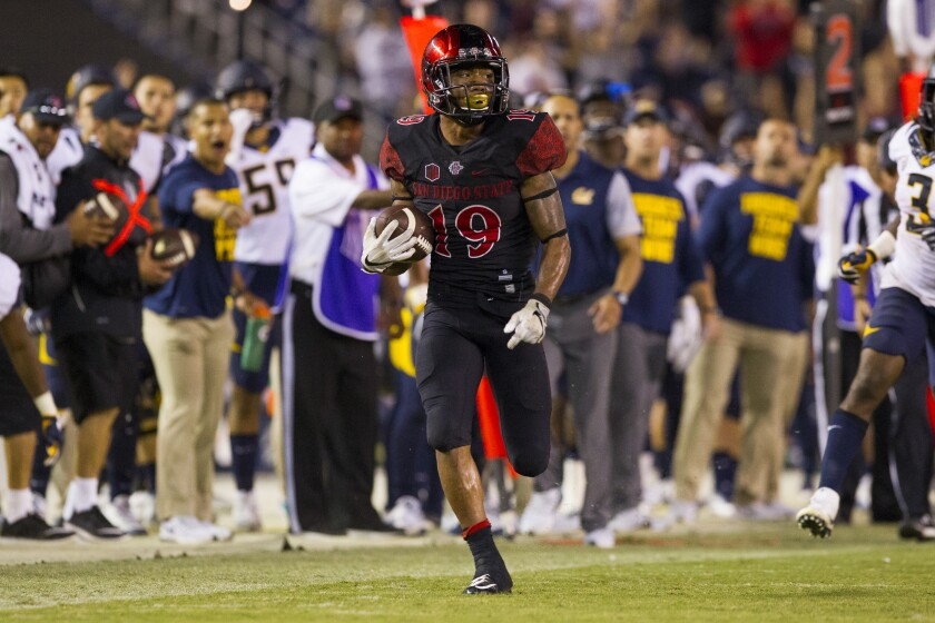SDSU running back Donnel Pumphrey breaks away down the line.