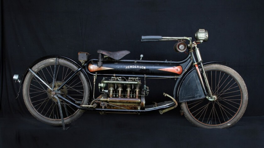 A 1912 four-cylinder Henderson will be sold to the highest bidder at the Mecum Las Vegas Motorcycle Auction.