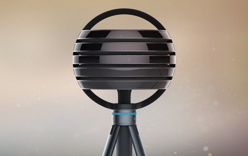 This concept image provided by Lytro shows the Immerge camera. The spherical head unit includes hundreds of tiny cameras that measure light coming in from every direction, a technique known as light field photography. (Lytro via AP)