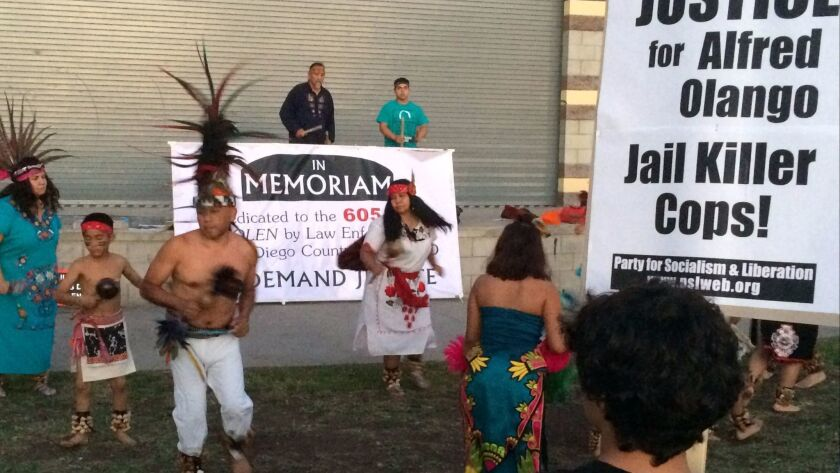 Native American dancers and drummers led off a City Heights rally Saturday, protesting police shootings.