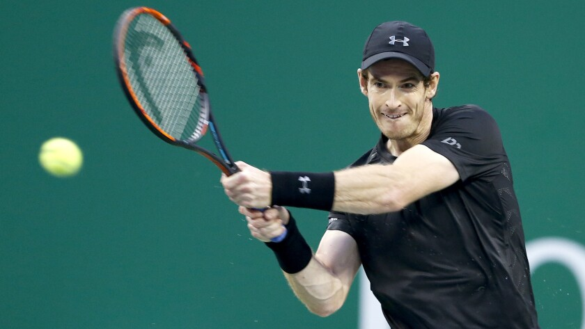 Andy Murray returns a shot against Roberto Bautista Agut during the championship match of the Shanghai Masters on Sunday.