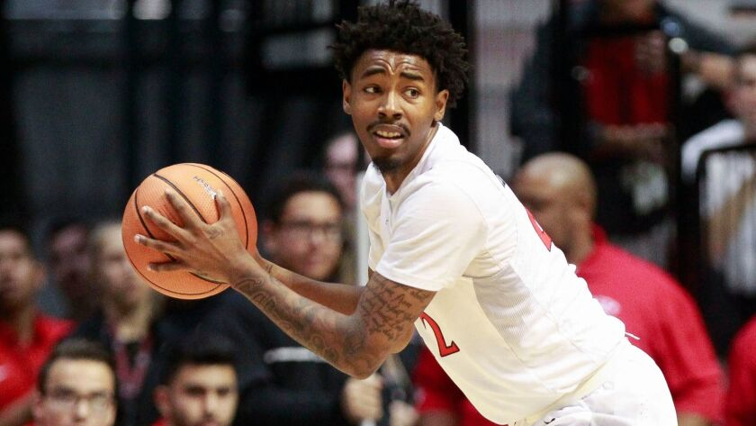 SAN DIEGO, January 17, 2018 | The Aztecs' Jeremy Hemsley during game against Fresno State at the Vie