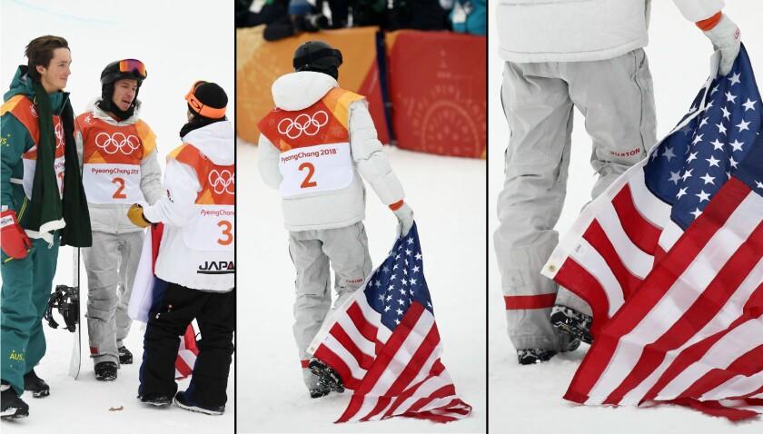 Shaun White drags the American flag