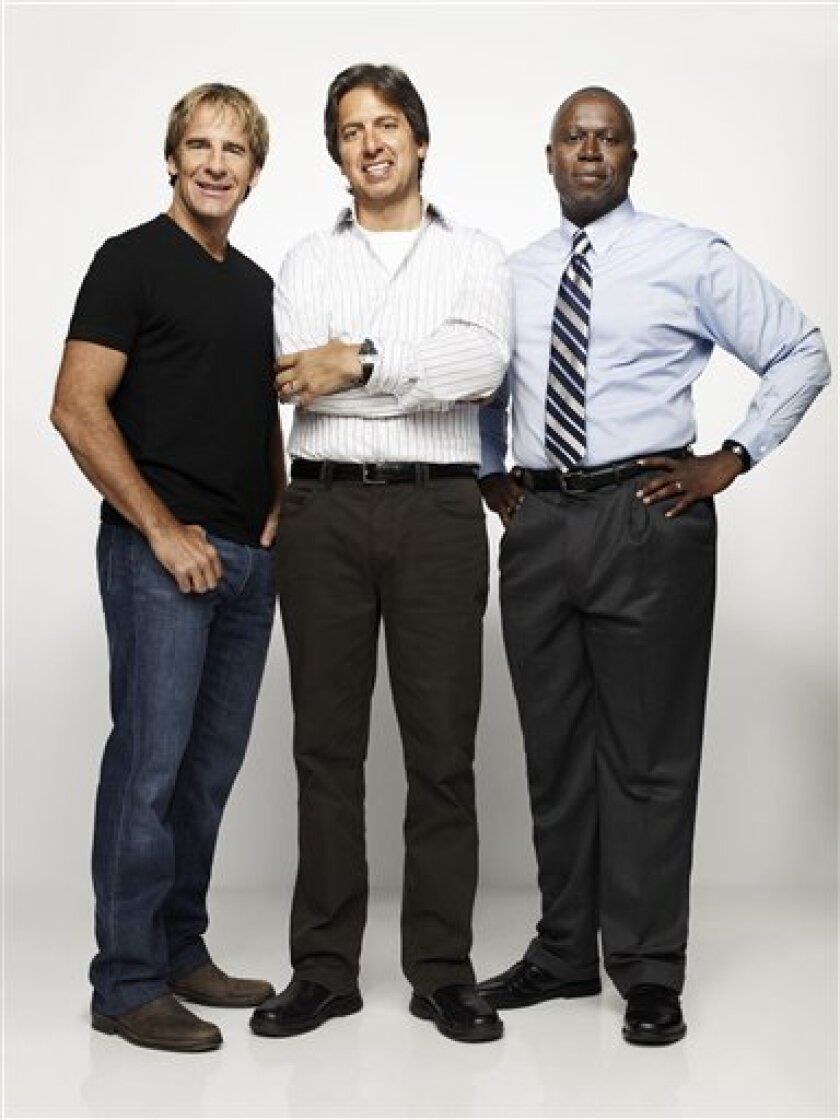 """In this publicity image released by TNT, Scott Bakula, left, Ray Romano, center, and Andre Braugher from the TNT original series, """"Men Of A Certain Age"""" are shown. The series premieres Dec. 7, 2009 on TNT. (AP Photo/TNT, Art Streiber)"""