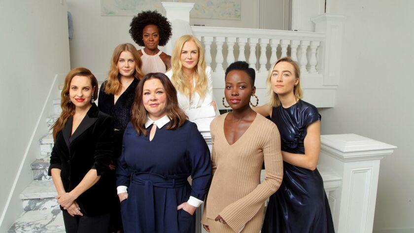 "Viola Davis (""Widows""), back, Amy Adams (""Vice""), Nicole Kidman (""Destroyer""/""Boy Erased""), Saoirse Ronan (""Mary Queen of Scots""), Lupita Nyong'o (""Black Panther""), Melissa McCarthy (""Can You Ever Forgive Me?"") and Marina de Tavira (""Roma"")."