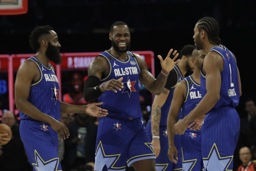 LeBron James with last year's All-Star teammates