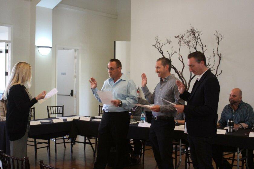 LJVMA director Sheila Fortune swears in Adam Barno, Brett Murphy and Ike Fazzio.