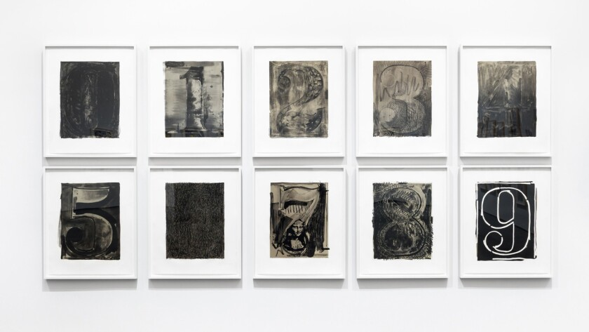 "An installation view of Jasper Johns' ""Black Numeral Series (0–9),"" 1968/70 at the Gemini G.E.L. show at LACMA."
