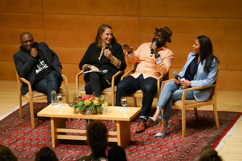 Hank Willis Thomas, left, Catherine Gund, Dwayne Betts and Tyra Patterson helped kick off Frieze Week in Los Angeles with a panel about art and criminal justice on Monday at the Getty Center.