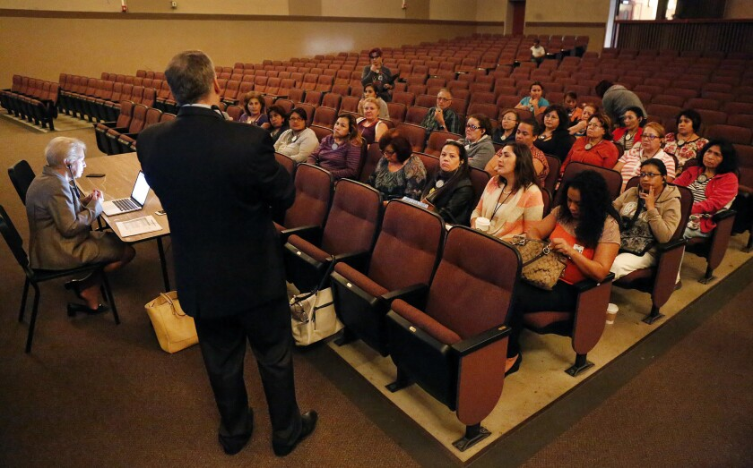 Consultant Hank Gmitro gathers public input on the qualities desired in the next L.A. schools superintendent during a recent public forum at Van Nuys High School.