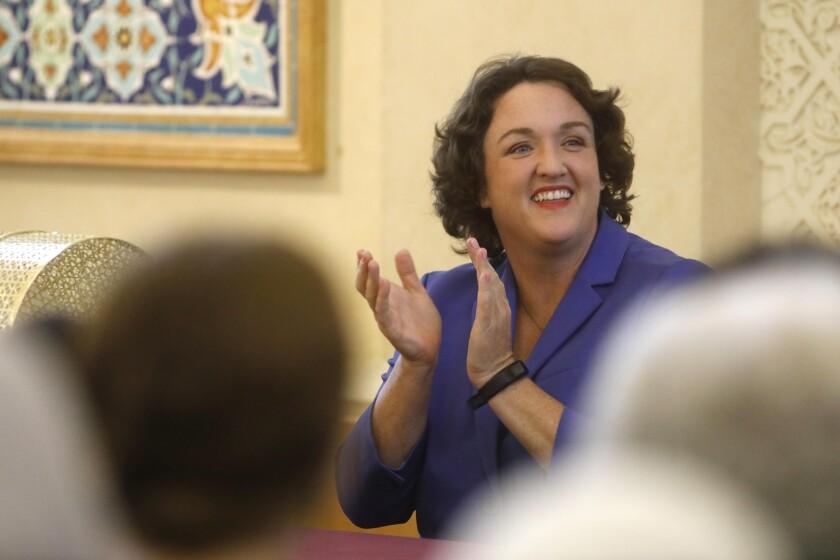 Rep. Katie Porter at a town hall