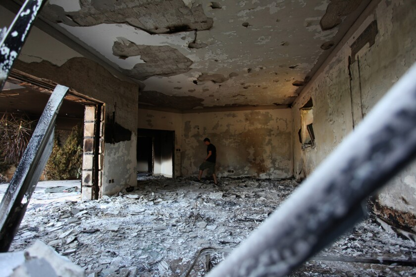 The damaged U.S. compound in Benghazi, Libya, after an attack that killed four Americans in 2012. A two-year investigation by the GOP-controlled House Intelligence Committee has found that the CIA and the military acted properly in responding to the attack and that there was no wrongdoing by Obama administration appointees.