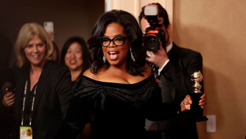 Oprah Winfrey in the Photo Deadline Room at the 75th Golden Globes at the Beverly Hilton Hotel on January 7.