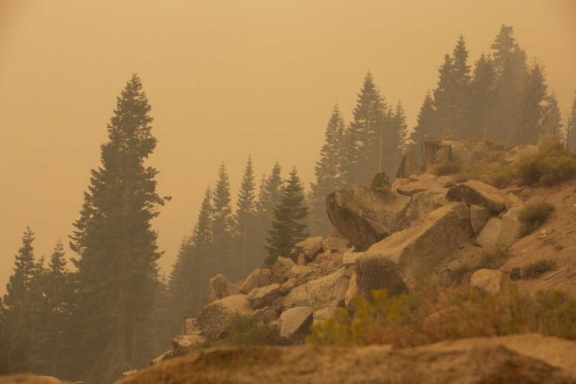 Smoky, orange skies over pine trees and a rocky outcrop.
