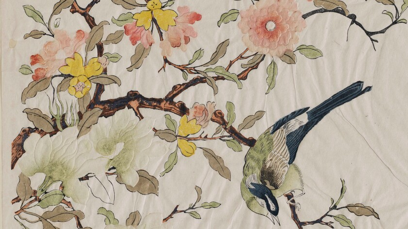"Detail of ""Pomegranate and Magnolia With Bird,"" by artist Ding Liangxian, Qing Dynasty, 1700-1750. Woodblock print with embossing, ink and colors on paper (multiblock technique with hand-coloring), 11 7/8 inches by 14 3/4 inches."